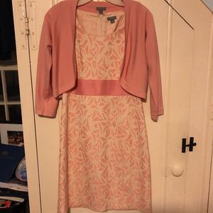 Ann Taylor floral dress and cropped sweater combo